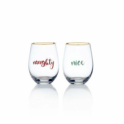 Celebrations by Mikasa  Naughty and Nice Stemless Wine Set of 2
