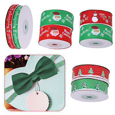 Merry Christmas Snowflakes Ribbons Happy Xmas Grosgrain Ribbons for Gifts Wrap