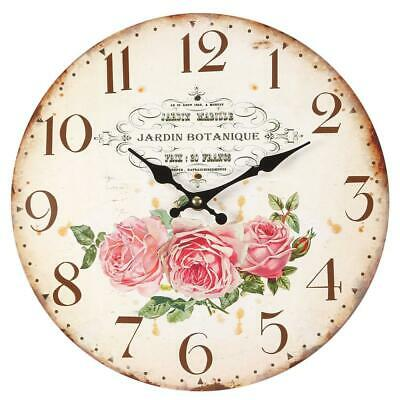 Vintage Wall Clock,Kitchen Clock with Rose Blossoms,Nostalgia Clock,Romantic