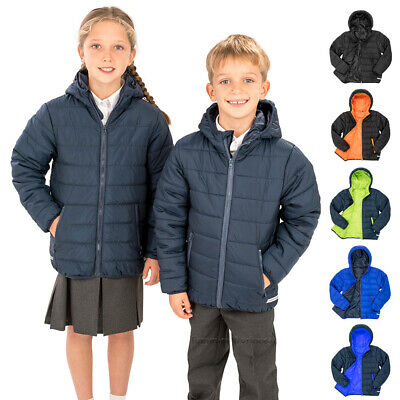 Kids Padded Jacket Childrens School Coat Boys Girls Hooded Puffer Winter Jacket