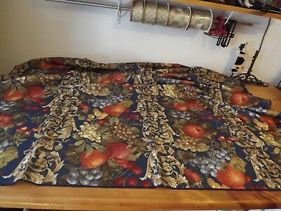 """Navy Blue Tablecloth With Colorful Fruit Pattern 53"""" Square Baroque Leafing"""