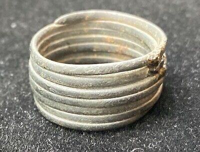 Authentic Ancient Lake Ladoga VIKING Artifact > Bronze Spiral Ring  VV95