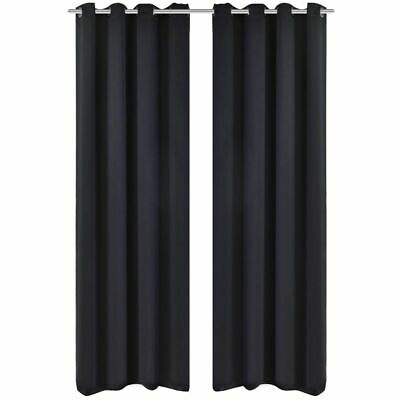 vidaXL 2x Blackout Curtains with Metal Eyelets 135x175 cm Black Window Drapes#