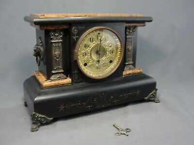 Antique Seth Thomas #102 Mantel Clock Adamantine Lion Handles Brass Face Repair