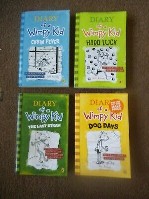 DIARY OF A WIMPY KID 4 x PB Book JEFF KINNEY VGC Dog, Luck, Straw & Cabin Fever