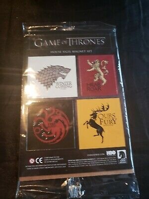 """Game Of Thrones House Sigil Magnet Set 1 5/8"""" -2"""" x 2"""" Each HBO TV Loot Crate"""