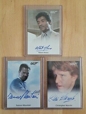 JAMES BOND FULL-BLEED AUTOGRAPH CARDS LOT x 3 (F) A MOSES T MOUNTAIN C MUNCKE