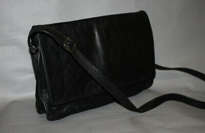 Vintage Tula By Radley Black Real Leather Crossbody Messenger Bag VGC