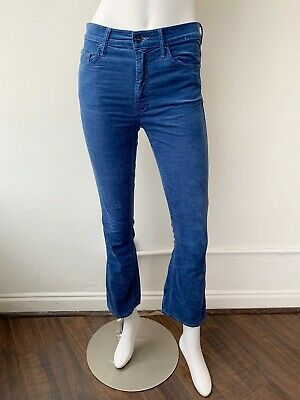 Mother Denim Insider Crop Velour Velvet Blue Size 26 Pants