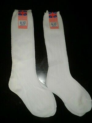 2 pairs of Girls White long school socks shoe size 9 - 12 made in UK NEW unopend