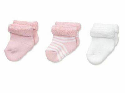 Country Kids Girls' Super Soft Terry Turn Cuff 3 Pack, Baby Pink/White, 12-24M