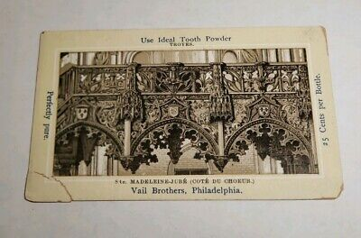 Antique Pre 1900s Adv Trade Card Ideal Toothpowder Vail Brothers Philadelphia PA