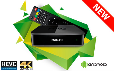 Infomir MAG410 UHD IPTV Set Box Android 4K HEVC Support built-in Wi-Fi UK Plug