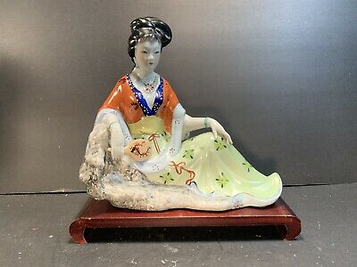 """Vintage Chinese Handpainted Porcelain Geisha Doll/Figure On Wooden Stand H: 10"""""""