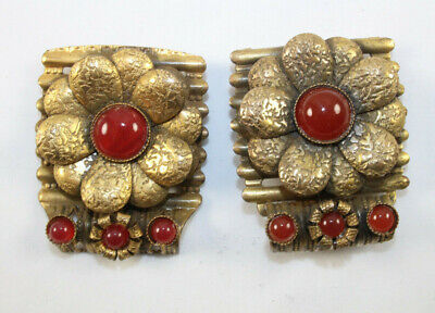 Antique Fur or Shoe Clips with Carnelian Colored Stones or Glass Beautiful