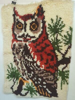 Vintage Owl Latch Hook Wall Hanging Completed Rug MCM Retro Home Decor Handmade
