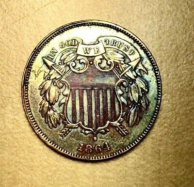 1864 Two Cent Circulated Proof Sunset Violet & Blue Toning Prettiest on eBay