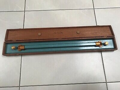 Vintage Silky Oak Cased Solid Enameled Brass 61cm Rolling Parallel Ruler by ALF