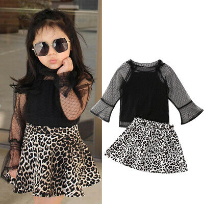 Kids Baby Girl Clothes Lace Tops+Leopard Tutu Dress Pageant Party Prom Outfit