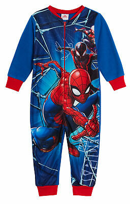 Marvel Spiderman Boys Fleece All In One Onezee Pyjamas Kids Avengers Sleepsuit