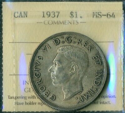 1937 Canada King George VI Silver Dollar ICCS MS-64 Certified XYA 084