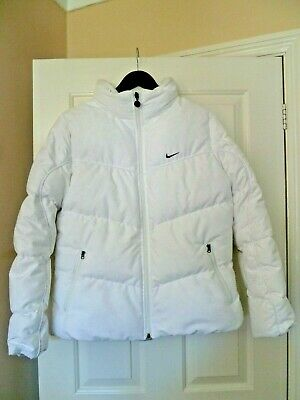 Nike Coat - Girls/Ladies Nike Padded Puffa White Jacket - Hood In Zipped Collar