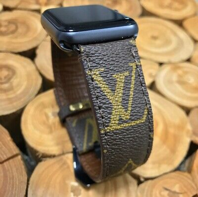Custom LV Apple Watch Band Hand Made From Authentic Materials