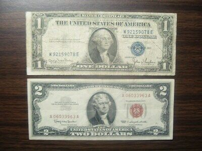 OLD $5/& 2 Dollar RED Seal US Notes Bills $1 SILVER Blue Seal Certificate