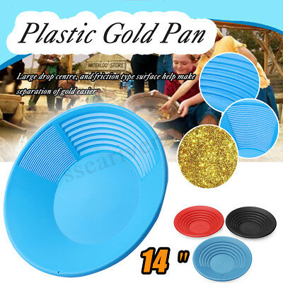 14'' Plastic Gold Pan Nugget Mining Dredging Prospecting River Panning 5 Color
