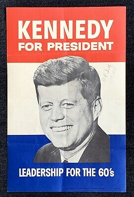 John F. Kennedy signed 1960 Presidential Campaign Poster ~ American Airlines
