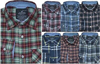 New Mens Yarn Dyed Flannel Lumberjack Check Brushed Cotton Work Shirt Small-XXL