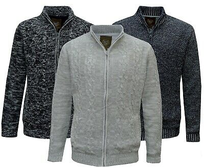 Mens Wool Mix Knitted Full Zip Lined Jacket Cardigan Winter Coat Thick Jumper