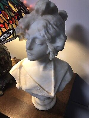 Exquisite Antique Art Nouveau Alabaster Bust