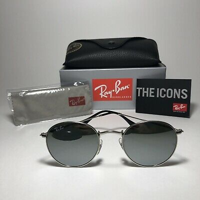 Brand New Ray-Ban RB3447 019/30 50mm ROUND Silver/Mirror Silver Sunglasses