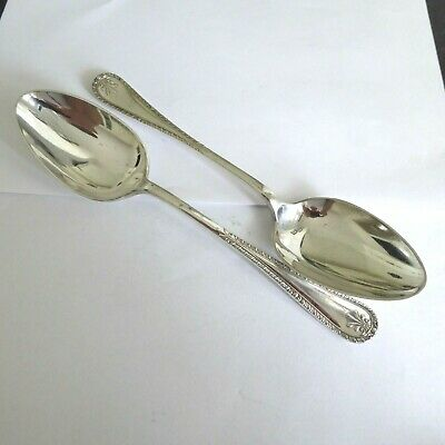 Vintage Silver Plate Epns A1  Pretty Pair Of Serving Spoons  Gleaming 8.5 Inch