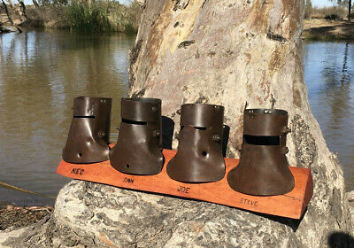 Ned Kelly , Kelly Gang Helmets Mounted on River Red Gum display stand