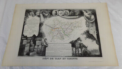 1856 Map/FRANCE, DEPT. DE TARN ET GARONNE/Political Division/Outstanding Graphic