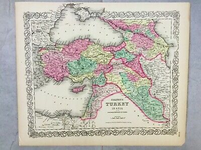 Colton Original Antique Map 1857 Turkey Caucasian Provinces