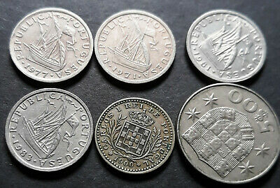 Portugal coins 1900, collection of 6 Mix coins, F/VF