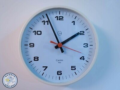 Railway Clock Style By Curzon Swiss With Vintage Rare Electric Clock Movement