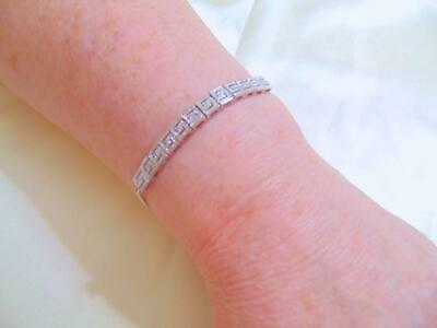 Department Store Diamond Accent Greek Slider Bracelet in Silver/ Brass R497 $100
