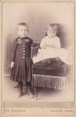 Antique Cabinet Photo -  2 Children. Boy Wearing Dress ? . Keokuk, Iowa