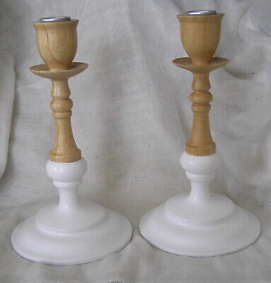 Parlane Pair Of White And Oak Coloured Candlesticks
