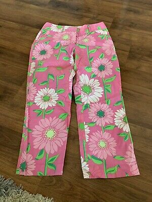 Lilly Pulitzer Pants Womens Size 2 Extra Small XS Pink Flowers