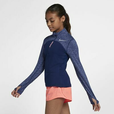 Nike Dri Fit Element Kids Girls Long Sleeve Running Top Shirt Half Zip