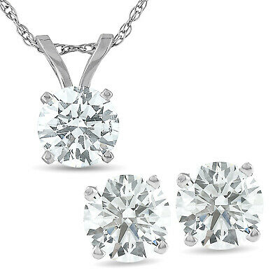 2 Cttw Diamond Solitaire Necklace & Screw Back Studs Earrings Set 14K White Gold