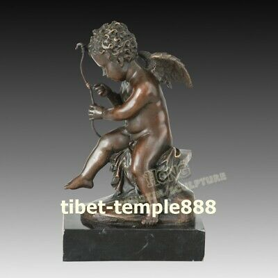 6 cm Western Art Deco Bronze Greek mythology angel god of love Cupid Boy Statue