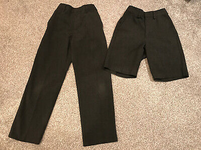 M&S Boys School Uniform Trousers And Shorts  Grey Slim Fit Age 8-9 Years