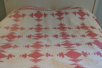 Antique Hand Made Red & White QUILT SHABBY CHIC VV136