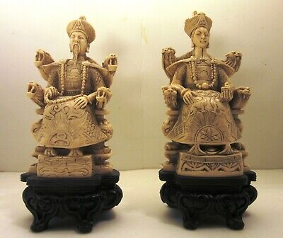 Vintage Chinese Ivory Color Emperor and Empress Figurine